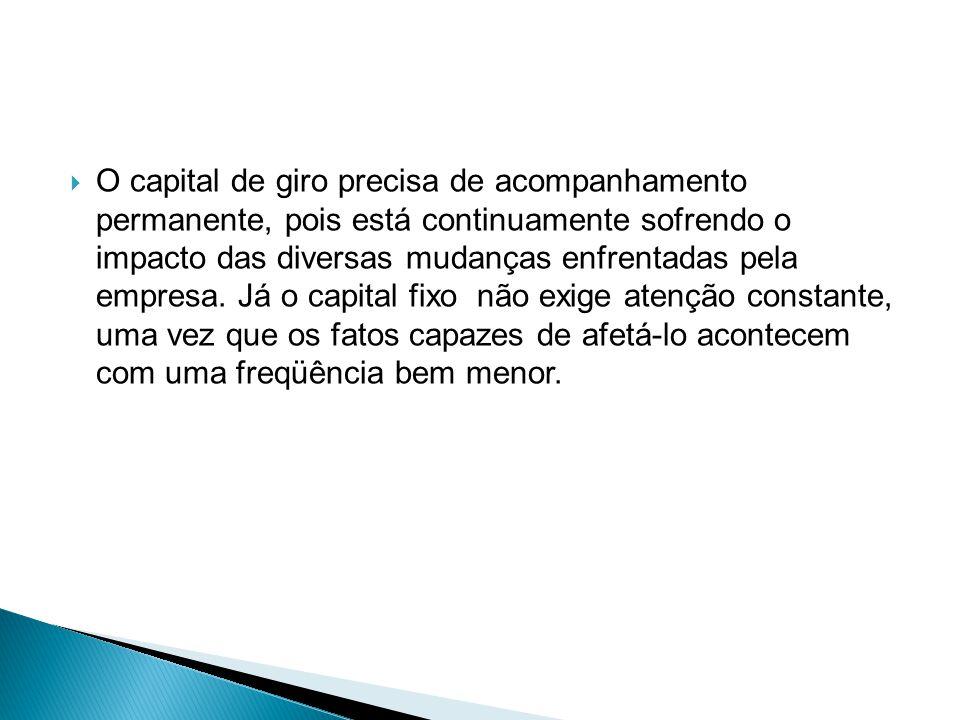 O capital de giro precisa de acompanhamento permanente, pois está continuamente sofrendo o impacto das diversas mudanças enfrentadas pela empresa.