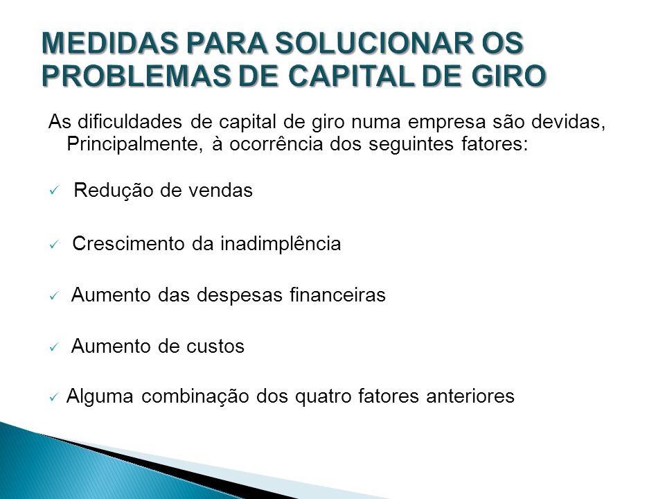 MEDIDAS PARA SOLUCIONAR OS PROBLEMAS DE CAPITAL DE GIRO