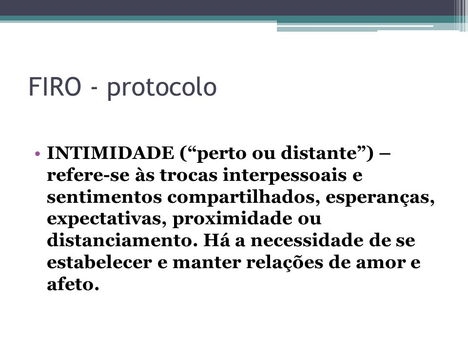FIRO - protocolo