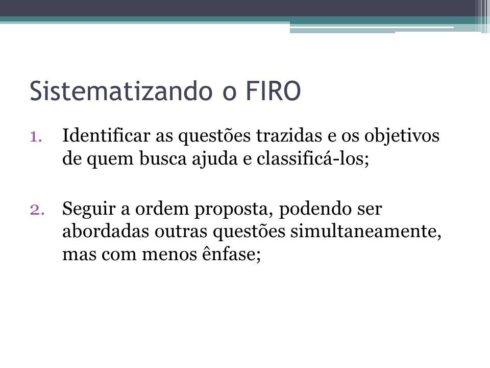 Sistematizando o FIRO Identificar as questões trazidas e os objetivos de quem busca ajuda e classificá-los;