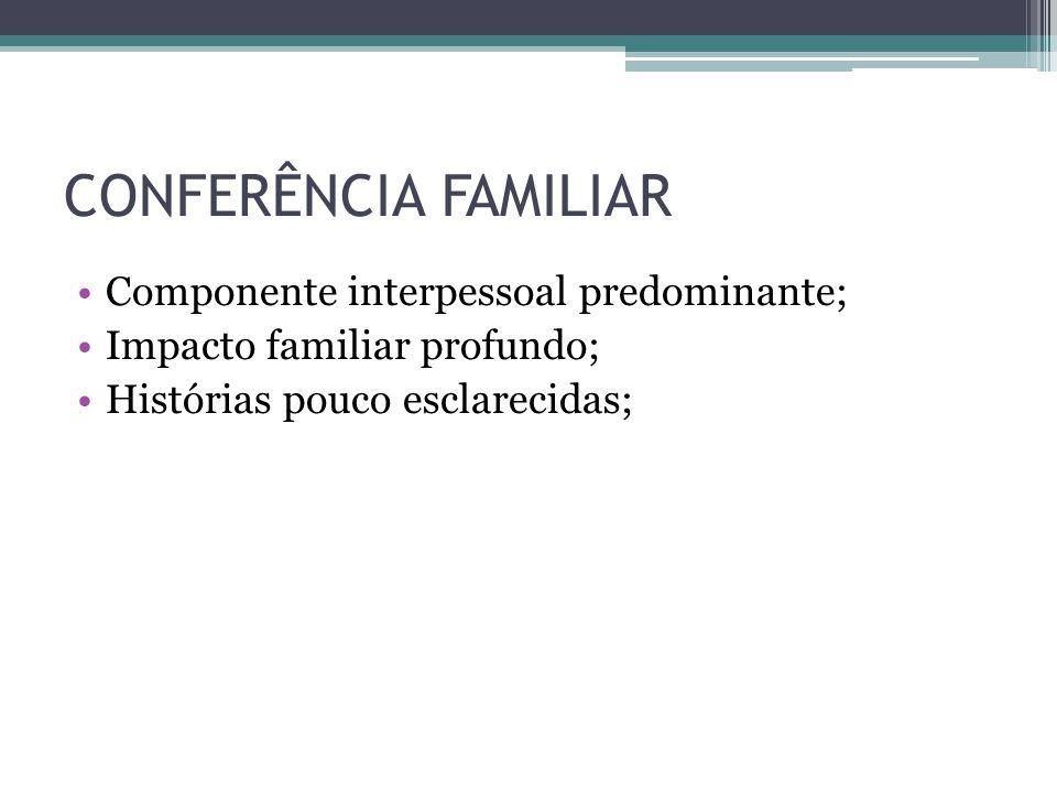 CONFERÊNCIA FAMILIAR Componente interpessoal predominante;