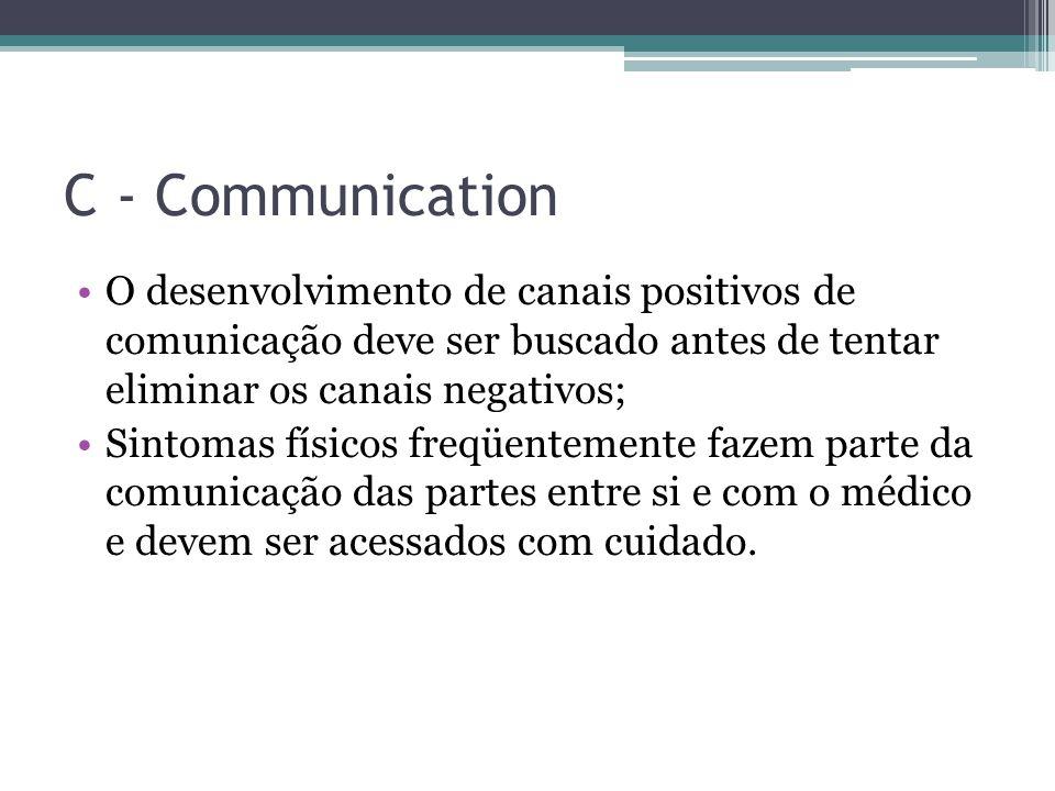 C - Communication O desenvolvimento de canais positivos de comunicação deve ser buscado antes de tentar eliminar os canais negativos;