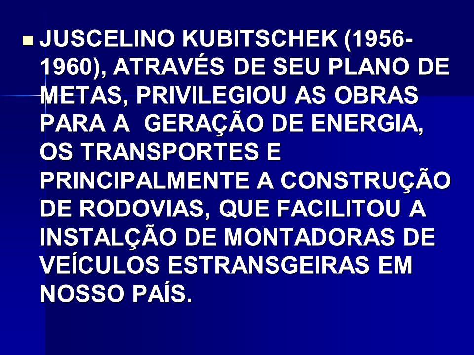 JUSCELINO KUBITSCHEK (1956-1960), ATRAVÉS DE SEU PLANO DE METAS, PRIVILEGIOU AS OBRAS PARA A GERAÇÃO DE ENERGIA, OS TRANSPORTES E PRINCIPALMENTE A CONSTRUÇÃO DE RODOVIAS, QUE FACILITOU A INSTALÇÃO DE MONTADORAS DE VEÍCULOS ESTRANSGEIRAS EM NOSSO PAÍS.