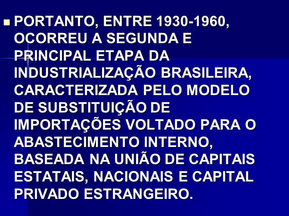PORTANTO, ENTRE 1930-1960, OCORREU A SEGUNDA E PRINCIPAL ETAPA DA INDUSTRIALIZAÇÃO BRASILEIRA, CARACTERIZADA PELO MODELO DE SUBSTITUIÇÃO DE IMPORTAÇÕES VOLTADO PARA O ABASTECIMENTO INTERNO, BASEADA NA UNIÃO DE CAPITAIS ESTATAIS, NACIONAIS E CAPITAL PRIVADO ESTRANGEIRO.