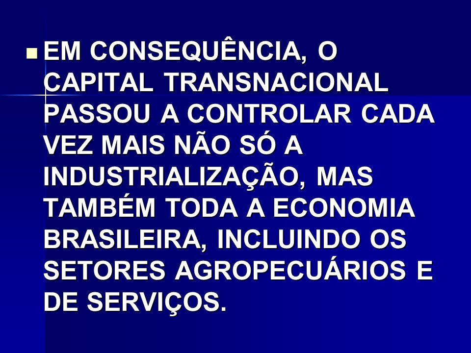EM CONSEQUÊNCIA, O CAPITAL TRANSNACIONAL PASSOU A CONTROLAR CADA VEZ MAIS NÃO SÓ A INDUSTRIALIZAÇÃO, MAS TAMBÉM TODA A ECONOMIA BRASILEIRA, INCLUINDO OS SETORES AGROPECUÁRIOS E DE SERVIÇOS.