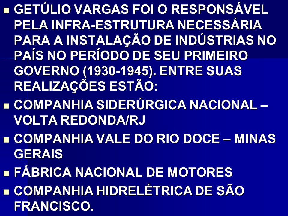 GETÚLIO VARGAS FOI O RESPONSÁVEL PELA INFRA-ESTRUTURA NECESSÁRIA PARA A INSTALAÇÃO DE INDÚSTRIAS NO PAÍS NO PERÍODO DE SEU PRIMEIRO GOVERNO (1930-1945). ENTRE SUAS REALIZAÇÕES ESTÃO: