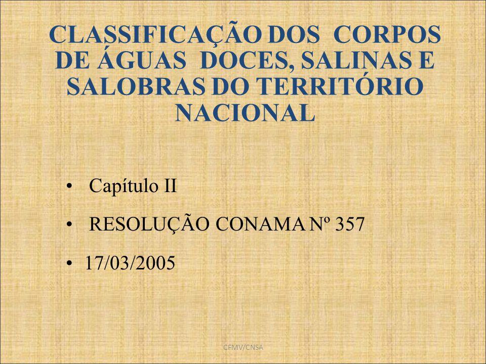 CLASSIFICAÇÃO DOS CORPOS DE ÁGUAS DOCES, SALINAS E SALOBRAS DO TERRITÓRIO NACIONAL