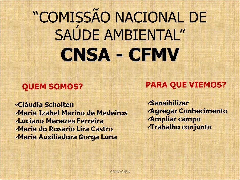 CNSA - CFMV COMISSÃO NACIONAL DE SAÚDE AMBIENTAL PARA QUE VIEMOS
