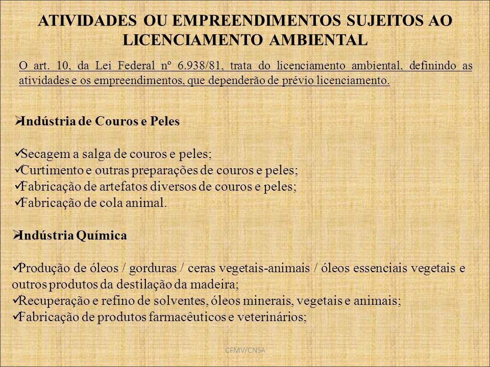 ATIVIDADES OU EMPREENDIMENTOS SUJEITOS AO LICENCIAMENTO AMBIENTAL