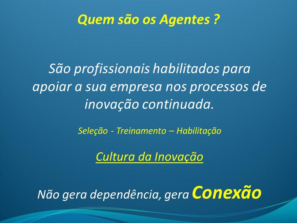 Quem são os Agentes São profissionais habilitados para apoiar a sua empresa nos processos de inovação continuada.