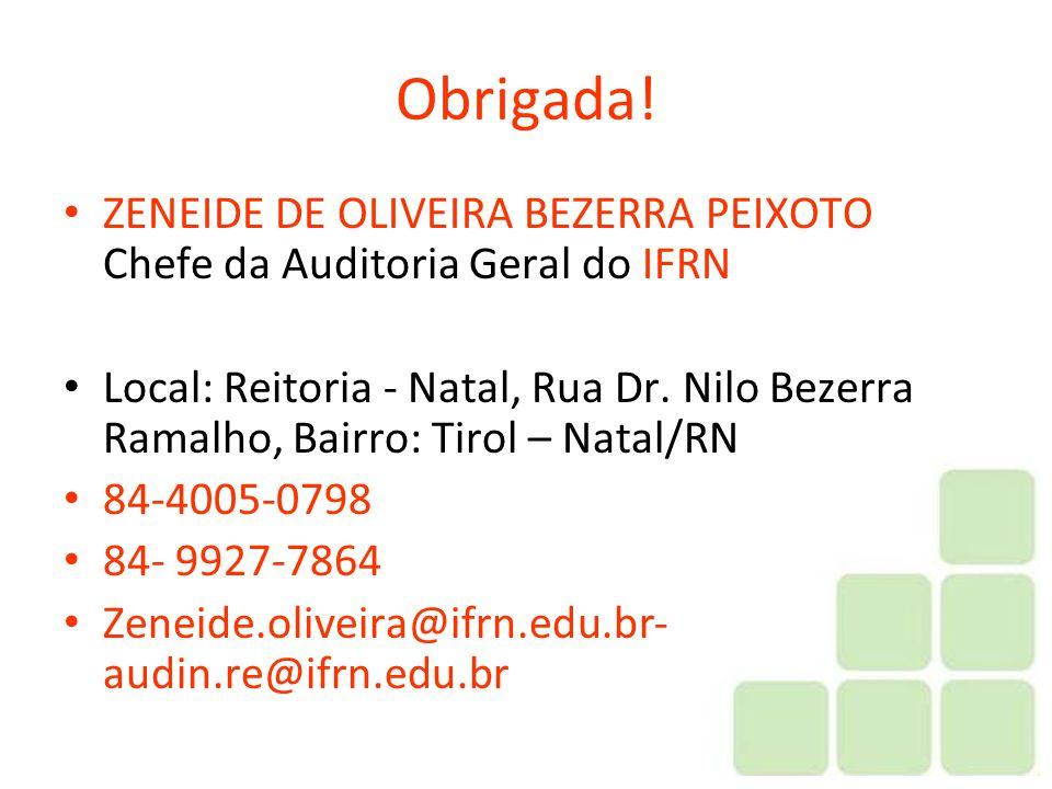 Obrigada! ZENEIDE DE OLIVEIRA BEZERRA PEIXOTO Chefe da Auditoria Geral do IFRN.