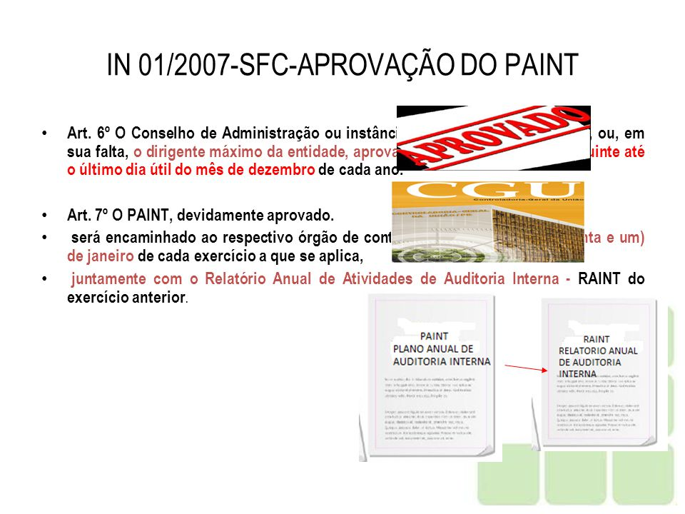 IN 01/2007-SFC-APROVAÇÃO DO PAINT