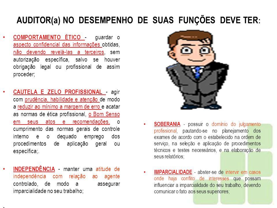 AUDITOR(a) NO DESEMPENHO DE SUAS FUNÇÕES DEVE TER: