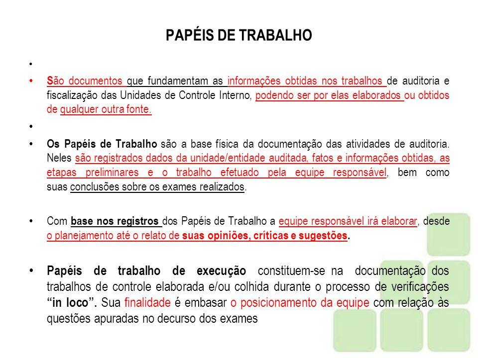 PAPÉIS DE TRABALHO