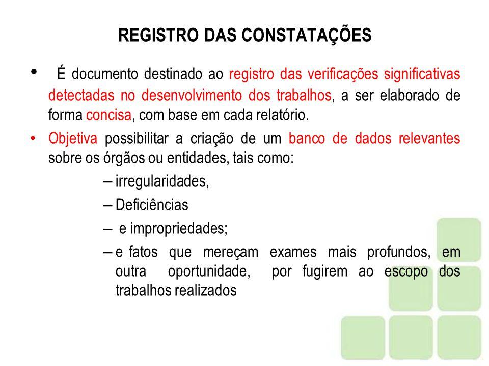 REGISTRO DAS CONSTATAÇÕES