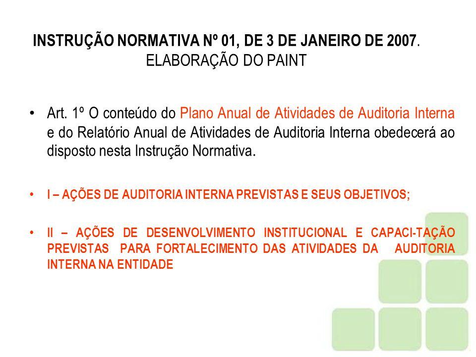 INSTRUÇÃO NORMATIVA Nº 01, DE 3 DE JANEIRO DE 2007. ELABORAÇÃO DO PAINT