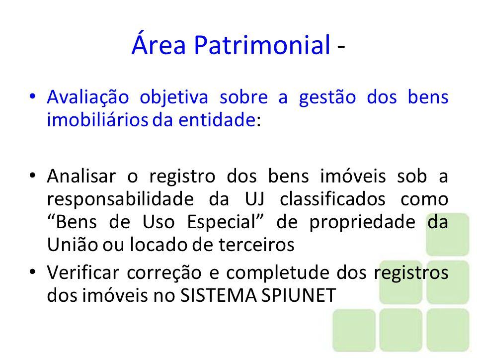 Área Patrimonial - Avaliação objetiva sobre a gestão dos bens imobiliários da entidade: