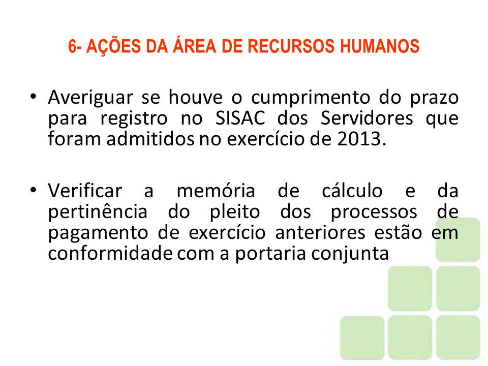 6- AÇÕES DA ÁREA DE RECURSOS HUMANOS