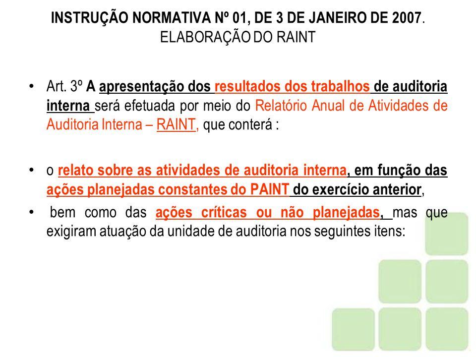 INSTRUÇÃO NORMATIVA Nº 01, DE 3 DE JANEIRO DE 2007. ELABORAÇÃO DO RAINT
