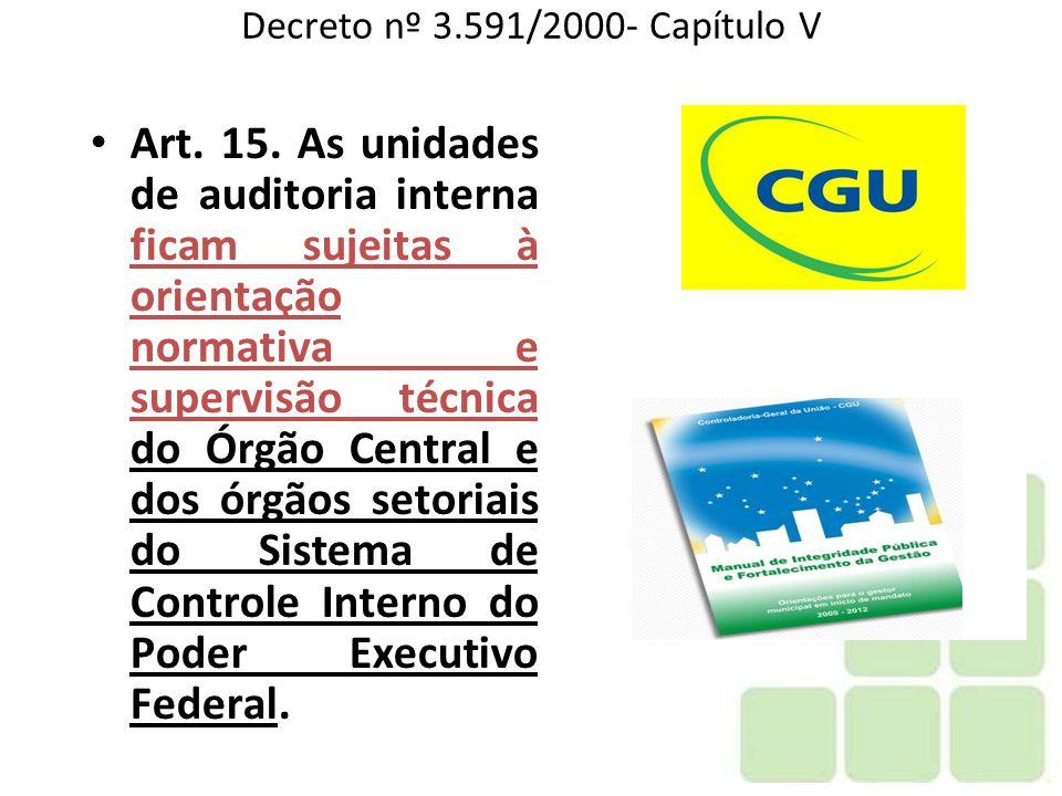 Decreto nº 3.591/2000- Capítulo V