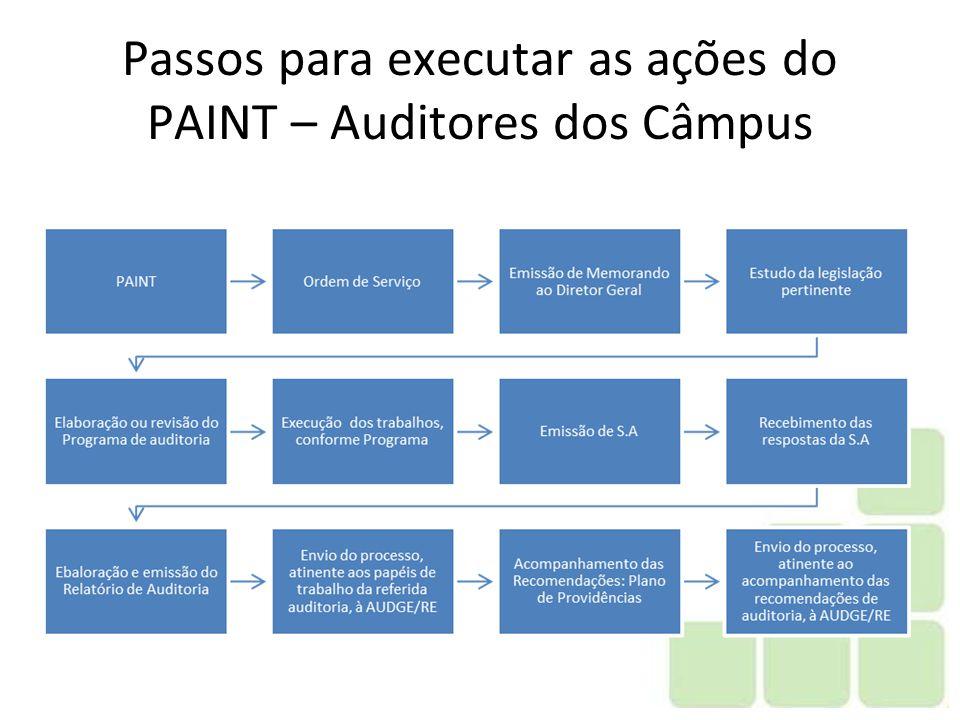 Passos para executar as ações do PAINT – Auditores dos Câmpus