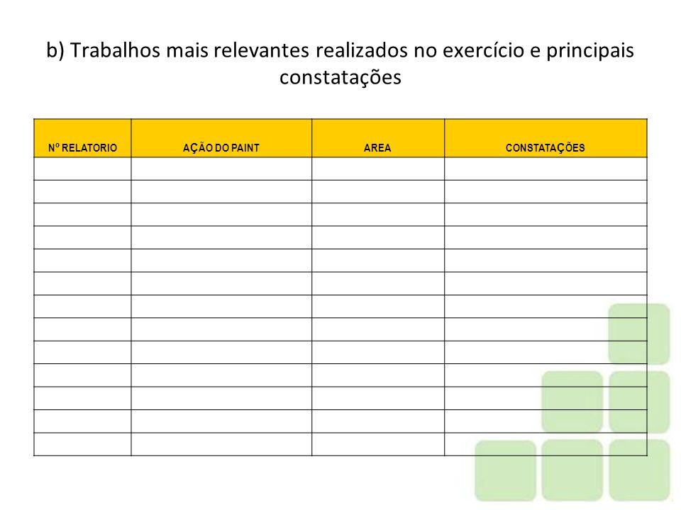 b) Trabalhos mais relevantes realizados no exercício e principais constatações