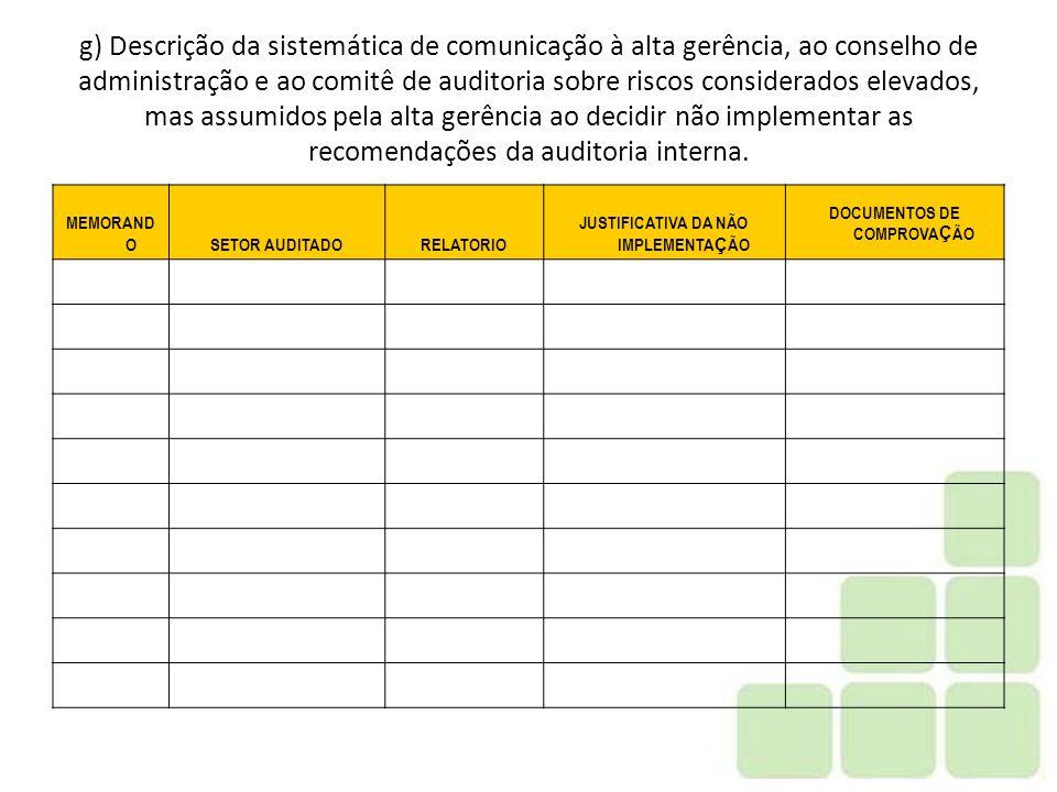 JUSTIFICATIVA DA NÃO IMPLEMENTAÇÃO DOCUMENTOS DE COMPROVAÇÃO