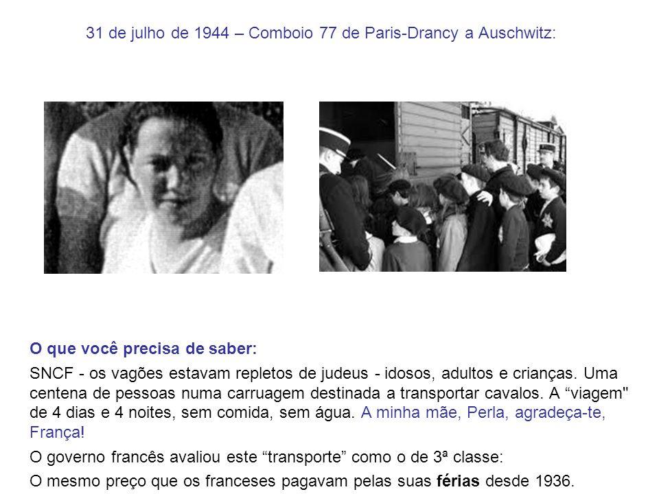 31 de julho de 1944 – Comboio 77 de Paris-Drancy a Auschwitz:
