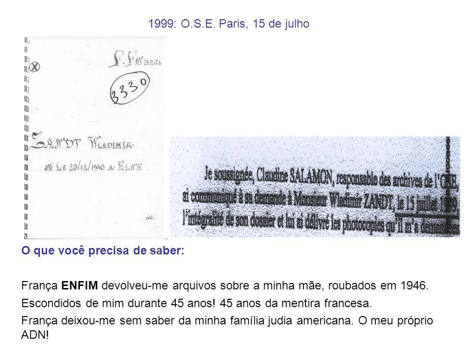 1999: O.S.E. Paris, 15 de julho O que você precisa de saber: França ENFIM devolveu-me arquivos sobre a minha mãe, roubados em 1946.