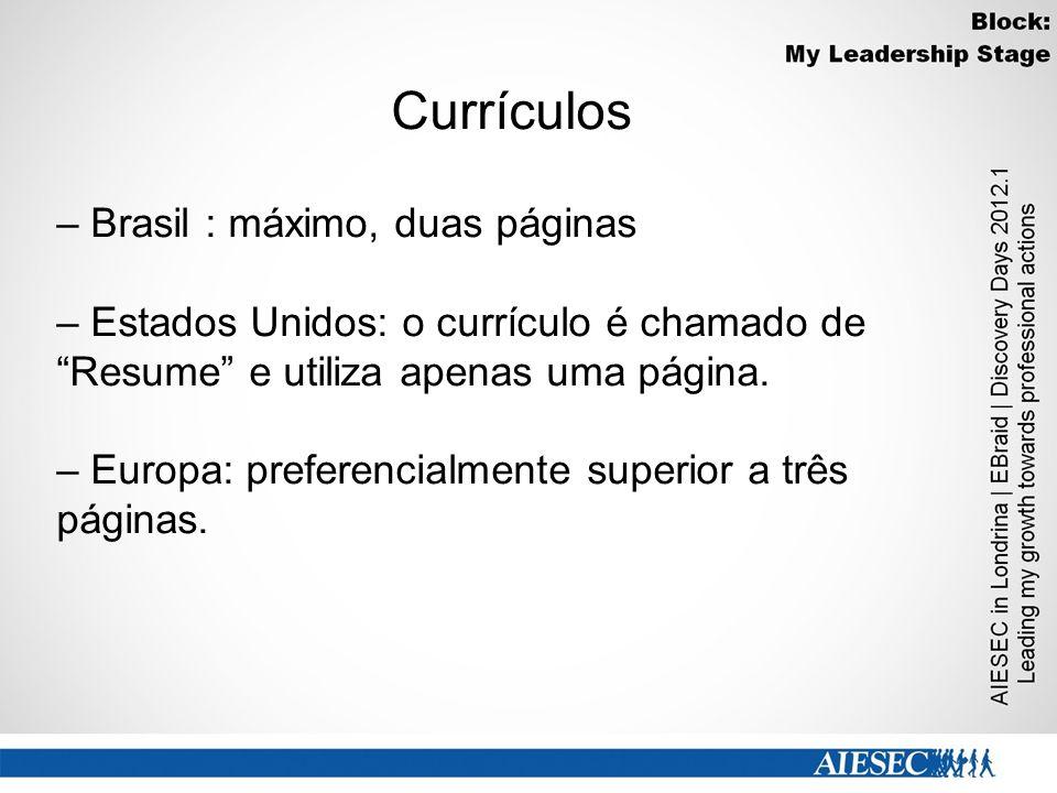 Currículos – Brasil : máximo, duas páginas