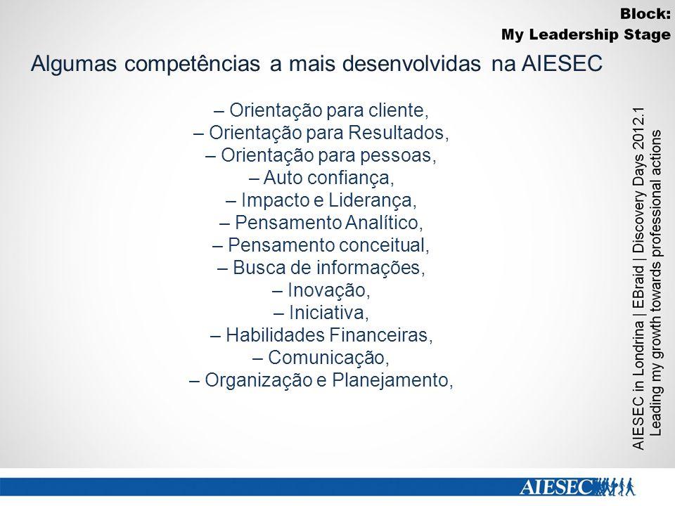 Algumas competências a mais desenvolvidas na AIESEC
