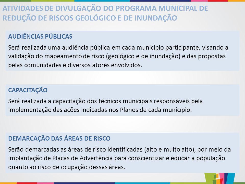 ATIVIDADES DE DIVULGAÇÃO DO PROGRAMA MUNICIPAL DE REDUÇÃO DE RISCOS GEOLÓGICO E DE INUNDAÇÃO