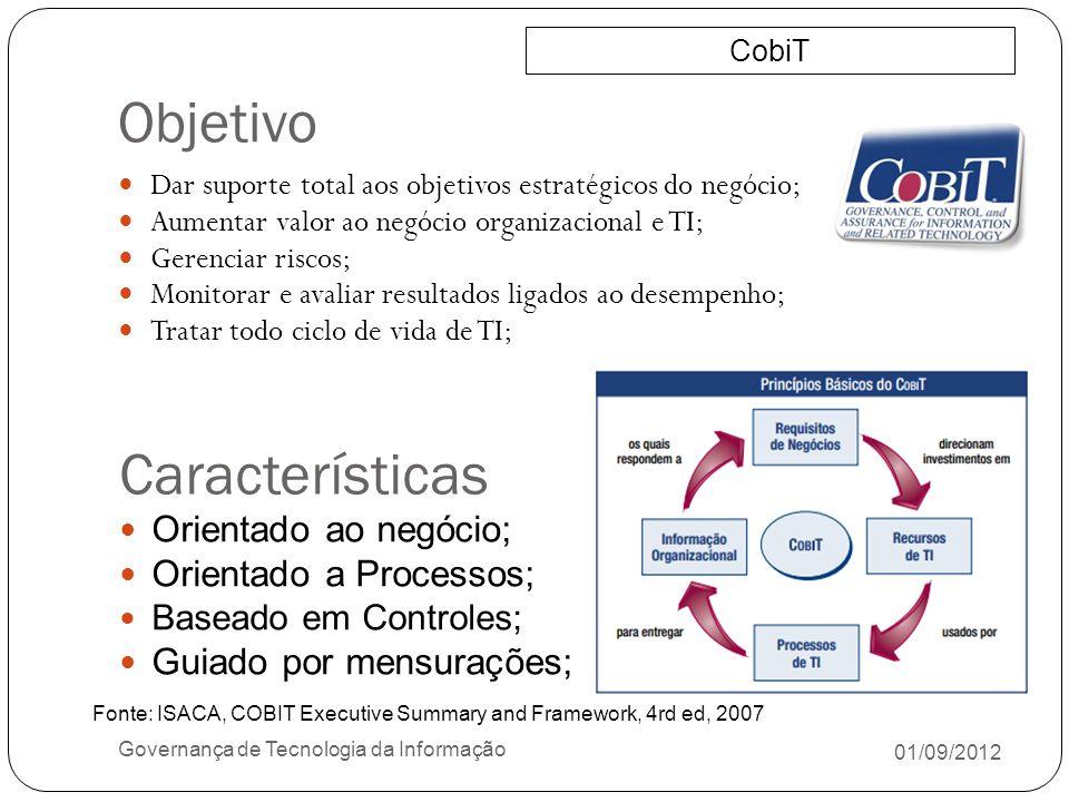 Objetivo Características Orientado ao negócio; Orientado a Processos;