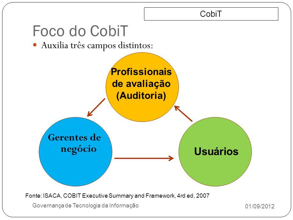 Foco do CobiT Auxilia três campos distintos: Gerentes de negócio