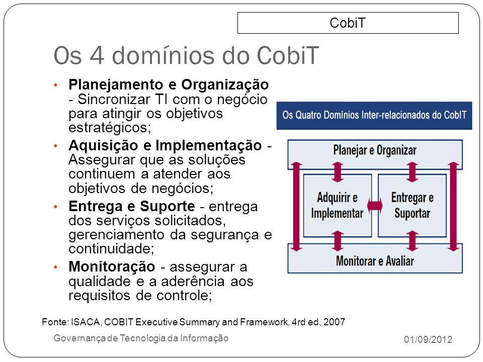 Os 4 domínios do CobiT CobiT. Planejamento e Organização - Sincronizar TI com o negócio para atingir os objetivos estratégicos;