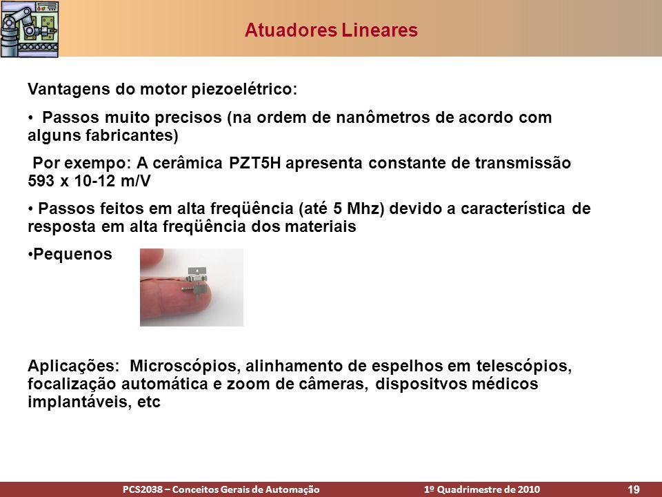 Atuadores Lineares Vantagens do motor piezoelétrico: