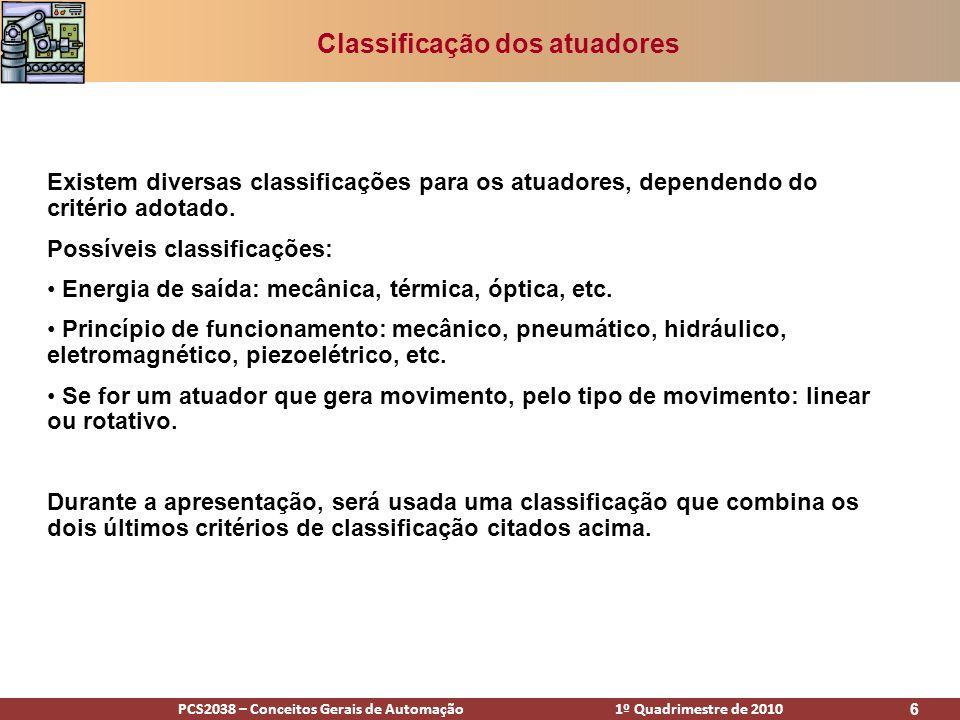 Classificação dos atuadores