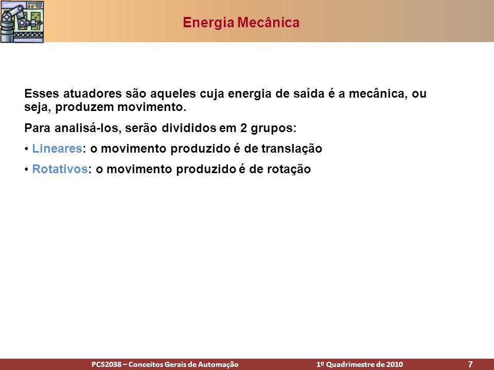 Energia Mecânica Esses atuadores são aqueles cuja energia de saída é a mecânica, ou seja, produzem movimento.