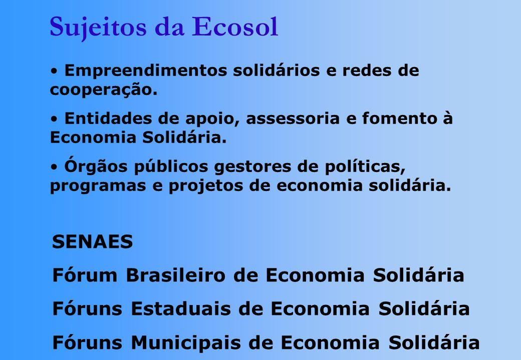 Sujeitos da Ecosol SENAES Fórum Brasileiro de Economia Solidária