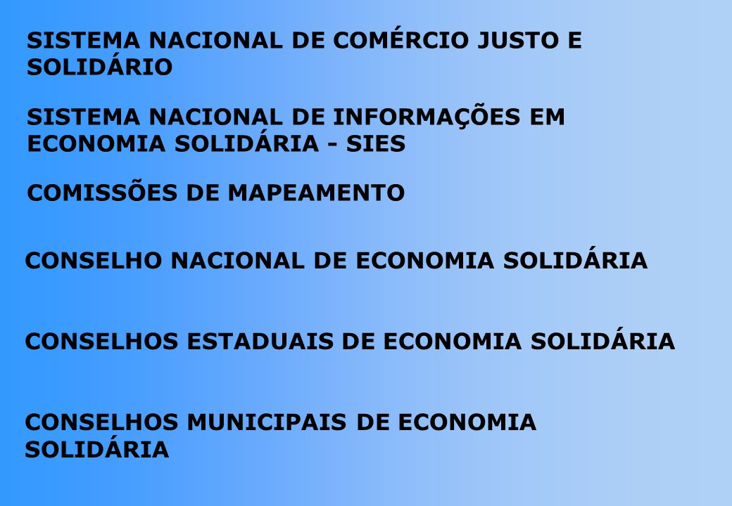 SISTEMA NACIONAL DE COMÉRCIO JUSTO E SOLIDÁRIO
