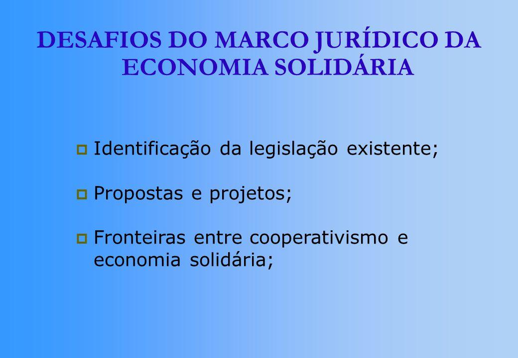 DESAFIOS DO MARCO JURÍDICO DA ECONOMIA SOLIDÁRIA