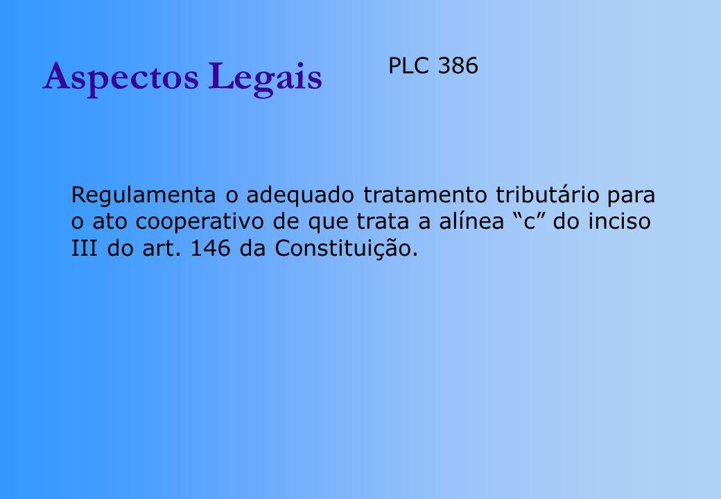 Aspectos Legais PLC 386. Regulamenta o adequado tratamento tributário para. o ato cooperativo de que trata a alínea c do inciso.