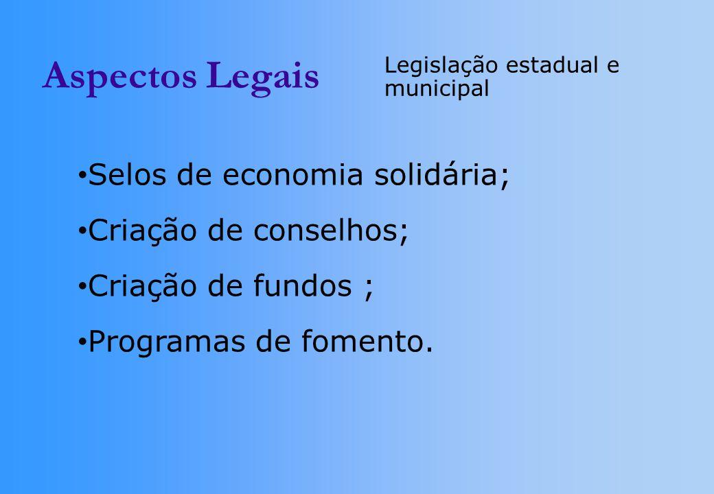 Aspectos Legais Selos de economia solidária; Criação de conselhos;