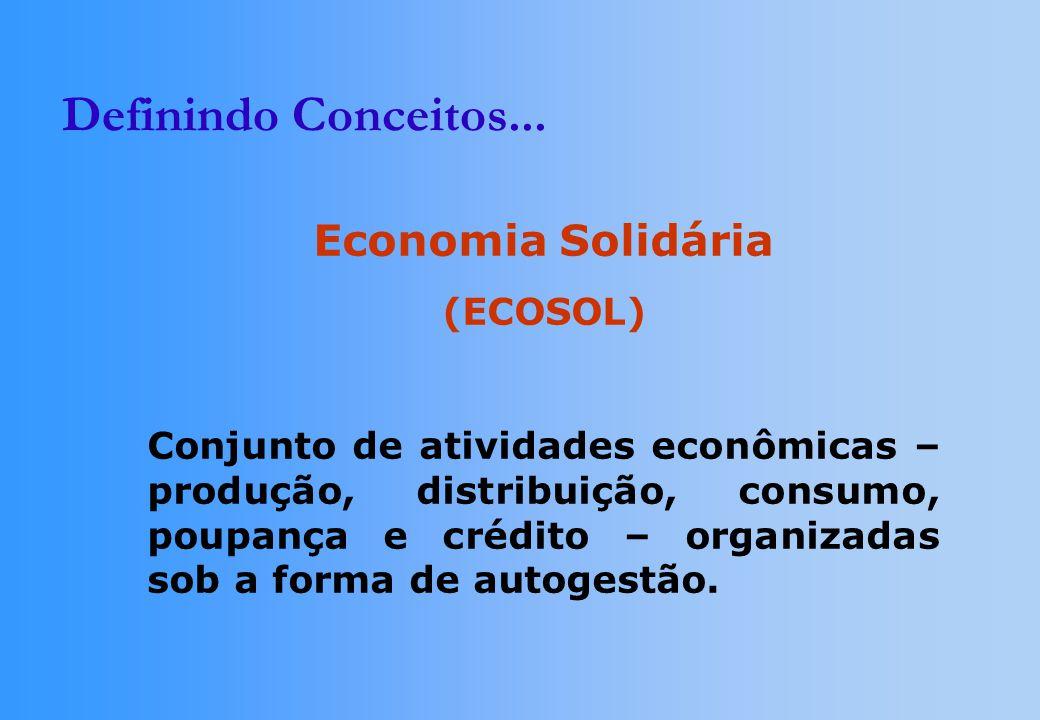 Definindo Conceitos... Economia Solidária (ECOSOL)