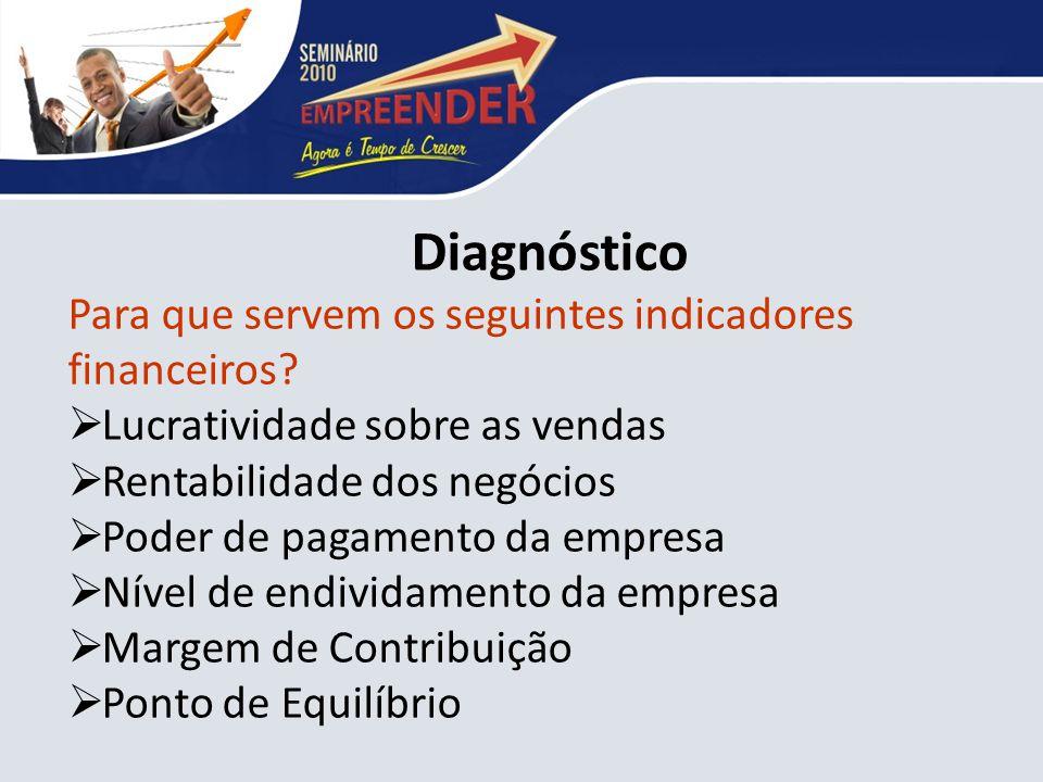 Diagnóstico Para que servem os seguintes indicadores financeiros
