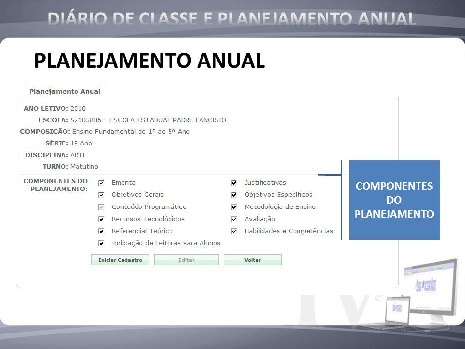 DIÁRIO DE CLASSE E PLANEJAMENTO ANUAL COMPONENTES DO PLANEJAMENTO