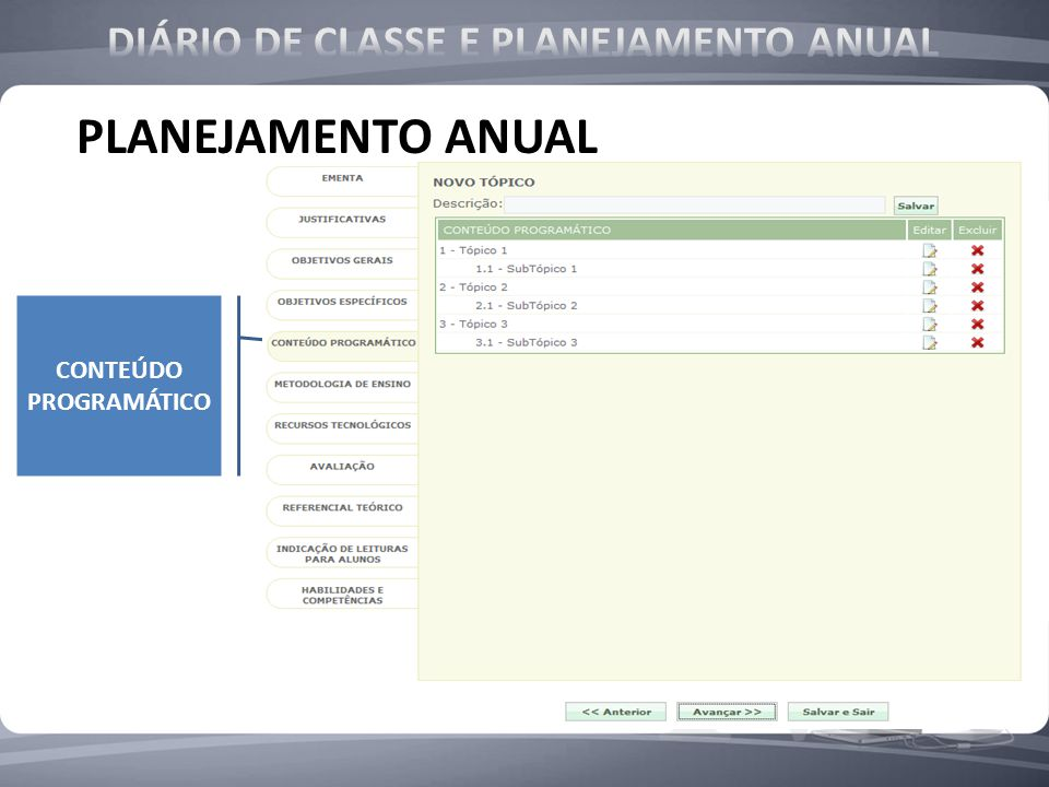 DIÁRIO DE CLASSE E PLANEJAMENTO ANUAL CONTEÚDO PROGRAMÁTICO