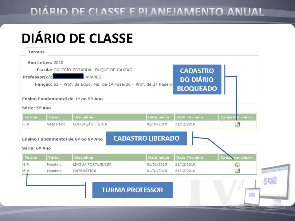 DIÁRIO DE CLASSE E PLANEJAMENTO ANUAL CADASTRO DO DIÁRIO BLOQUEADO