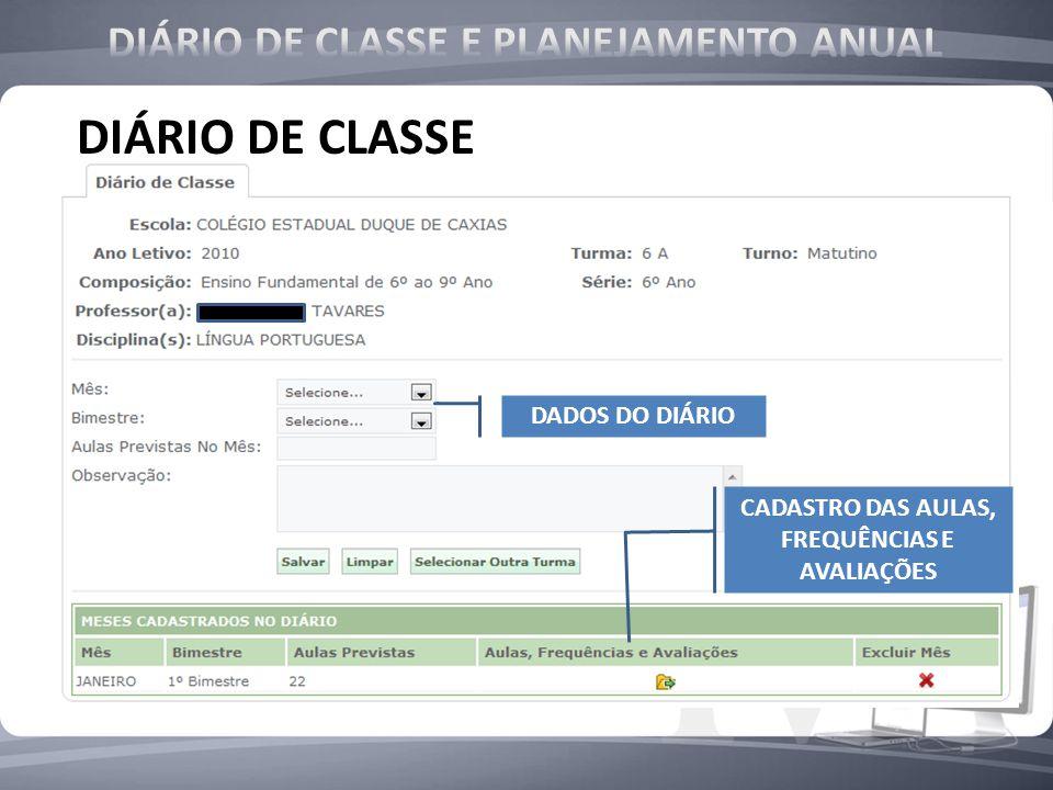 DIÁRIO DE CLASSE DIÁRIO DE CLASSE E PLANEJAMENTO ANUAL DADOS DO DIÁRIO