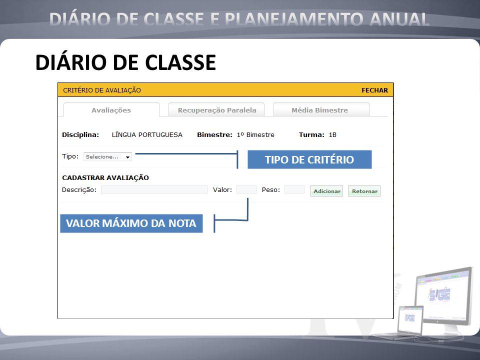 DIÁRIO DE CLASSE DIÁRIO DE CLASSE E PLANEJAMENTO ANUAL